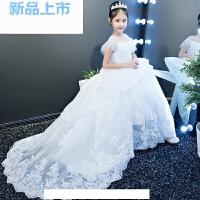 儿童礼服女童公主裙花童礼服白色一字肩儿童走秀拖尾演出服小婚纱