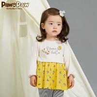 【3件4折 到手价:159】Pawinpaw卡通小熊童装秋女宝宝假两件百褶连衣裙印花潮