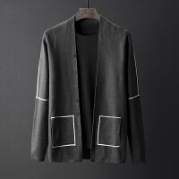 秋季开衫针织衫男士修身几何线条撞色毛衣外套男厚款潮流上衣