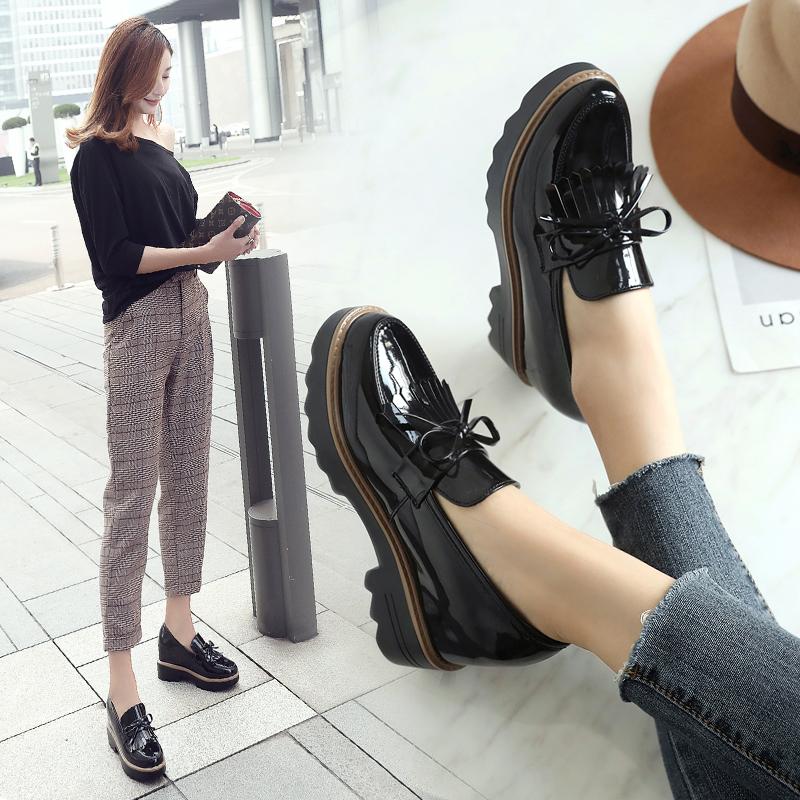 ZHR2018新款厚底松糕鞋乐福鞋英伦风小皮鞋内增高休闲鞋单鞋女鞋AH31