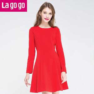 2016冬季新款红色秋冬女装裙子冬款长袖连衣裙