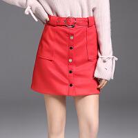 秋装新款欧美女装红色配腰带百搭麂皮绒高腰半身裙A字裙短裙