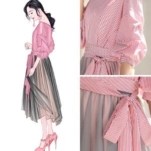 安妮纯2019春夏女新款时髦港风网纱裙省心搭配两件套漏肩衬衫配裙子套装