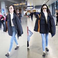 新品中长bf港风外套女韩版加厚宽松型羽绒棉衣面包服冬上新 黑色