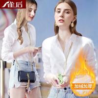 衬衣女2018新款春季加绒加厚白衬衫时尚职业工装长袖娃娃领OL上衣