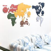 创意世界地图挂钟装饰画办公室钟表