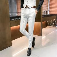 春秋季男士休闲小脚裤男韩版修身西裤小西装裤发型师白色裤子潮流