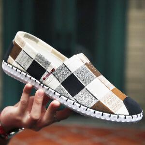 2017夏季新款低帮帆布鞋男日系手工缝制鞋棉麻透气套脚鞋轻便爆款鞋豆豆男鞋子一脚蹬男鞋XX951CL支持