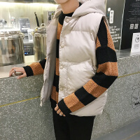 情侣连帽马甲男冬季韩版棉衣背心男士修身面包服潮流学生帅气外套