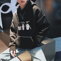 日系潮男连帽卫衣韩版卡通小清新学生宽松运动服纯色打底衫外套