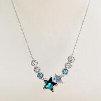 ?通体s925纯银项链女奥地利闪耀水晶五角星吊坠短款时尚锁骨链饰品