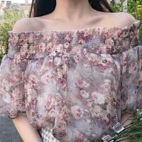 2017夏季新款韩版一字领露肩泡泡袖雪纺衫有里布衬衫女短袖上衣潮 均码