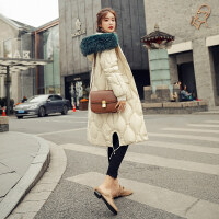 羽绒服女2018冬季韩版白鸭绒时尚中长款超大毛领长过膝外套潮