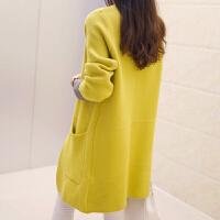 2018春装新款韩版女士中长款V领长袖口袋显瘦针织衫开衫毛衣外套 均码