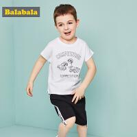 巴拉巴拉童装夏装2018新款男童套装小童宝宝时髦T恤裤子两件套潮