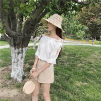2017夏季新款韩版一字领短袖衬衫女宽松系带雪纺衫喇叭袖露肩上衣 均码