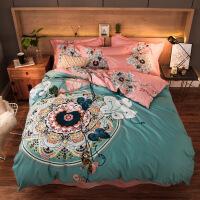 四件套棉床上用品棉床单简约被套三件套被单床罩床裙学生宿舍