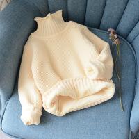女童洋气毛衣加绒冬装新款韩版儿童针织衫加厚中小童高领套头毛衣