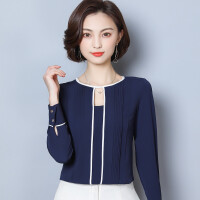 雪纺衫女长袖2018春装新款韩版宽松百搭撞色圆领镂空上衣女士衬衫 藏青色
