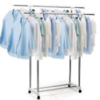 衣架不锈钢落地折叠双杆室内外阳台移动婴儿单杆简易晒被架 80cm*150cm白色 大