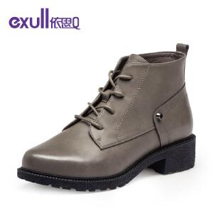 依思q冬季新款马丁靴短筒及裸靴粗中跟靴子