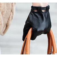 羊皮手套女士保暖时尚手短款单皮真皮手套潮