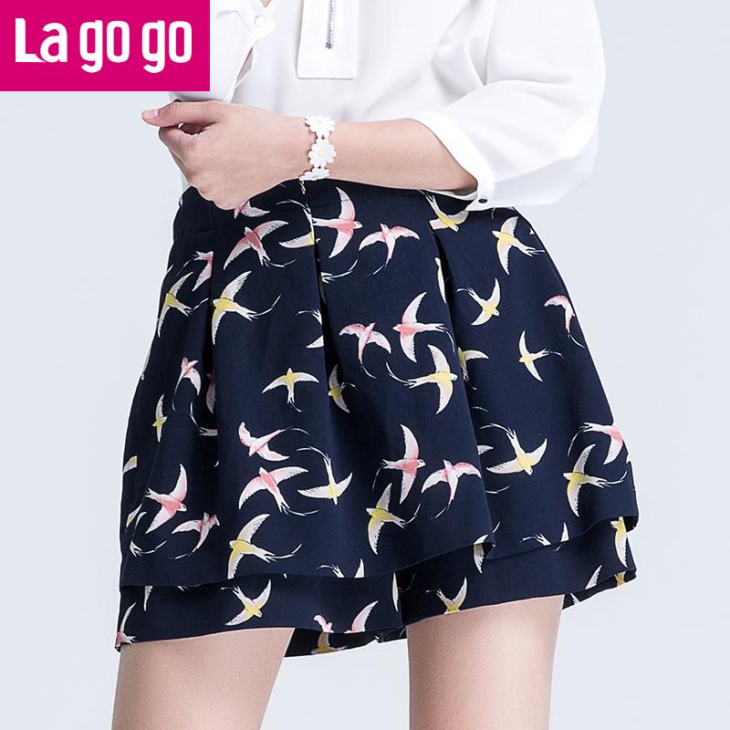 Lagogo/拉谷谷2017年夏季新款时尚百搭印花半裙