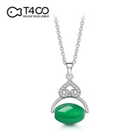 T400天然绿玉髓万花筒锆石项链高档锁骨链女生日礼物礼品 B2833