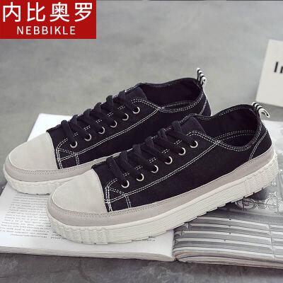 2018新款帆布鞋男板鞋韩版潮流男鞋百搭休闲鞋