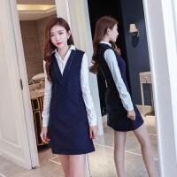 秋冬季女装气质两件套装加绒衬衫背带裙子秋款长袖直筒连衣裙