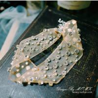 ?Angelababy同款新娘颈链项链韩式超仙晚礼服婚纱配饰结婚饰品大气 香槟色 不含皇冠