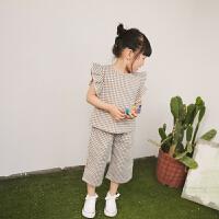 2018夏季新款女童格子套装 宝宝韩版无袖背心阔腿裤两件套