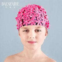 2018新款儿童针织泳帽可爱卡通男女童不勒头时尚防晒度假布游泳帽