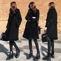 冬季韩版时尚中长款皮毛一体外套女宽松麂皮绒黑色棉衣潮 黑色