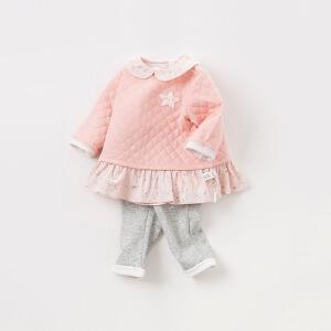 戴维贝拉秋冬装新款女童休闲两件套宝宝夹棉套装DBM8263