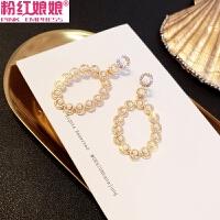 韩国洋气时髦镂空几何仿珍珠耳环女简约百搭气质复古水钻耳钉耳饰