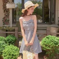 2018夏季新款港味复古荷叶边格子吊带连衣裙百搭气质显瘦打底裙子