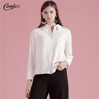 白色衬衫女士2019秋季新款长袖打底立领设计感上衣百搭休闲衬衣