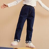 【2件3折:95】巴拉巴拉旗下巴帝巴帝儿童裤子2019秋冬女童中大童甜美波点牛仔长裤