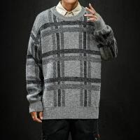 男士毛衣秋季新款日系时尚格子撞色圆领上衣青年加大休闲针织衫潮