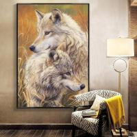 动物十字绣客厅贴相伴点绣玄关书房绣画