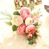 欧式仿真玫瑰花束家居客厅卧室装饰花摆件假花绢花插花绣球花