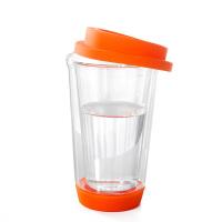 双层玻璃创意带盖水杯 隔热玻璃三色茶杯 橘色