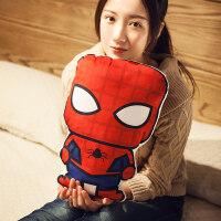蜘蛛侠钢铁侠毛绒玩具公仔抱枕可爱沙发靠枕卡通午睡小枕头女娃娃 40cm左右(双面印花)
