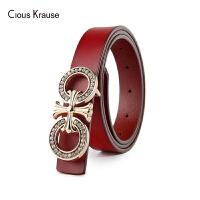 【1件3折,到手价:126.6元】Clous Krause ck女士皮带时尚潮流牛皮中青年腰带板扣休闲皮带(1050-