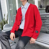 毛衣男韩版秋季青年V领拉链男士针织开衫纯色毛线衣薄款外套