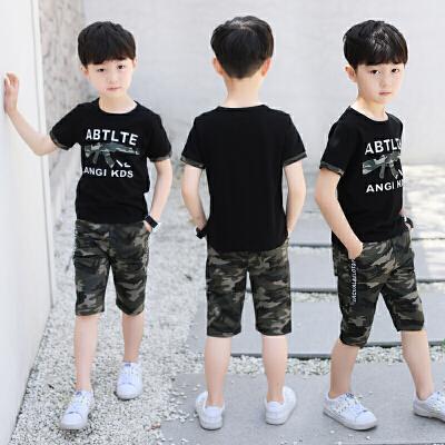 童装男童夏装套装新款儿童夏季7短裤迷彩短袖两件套