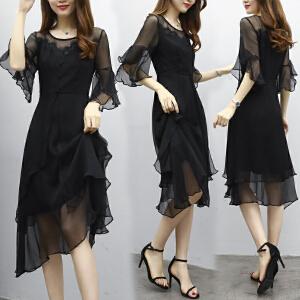 哆哆何伊2018新款女装夏装修身中长款连衣裙女雪纺黑色喇叭袖荷叶边中袖裙