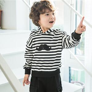 【尾品汇 129元3件】帕丁猫童装2018秋季新款中小童男童条纹长袖卫衣