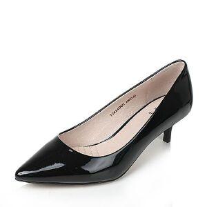 Tata/他她2017秋牛皮时尚尖头猫跟鞋细高跟浅口女鞋T2824CQ7